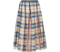 Organdie Checked Pleated Cotton-organza Midi Skirt Blue