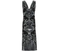 Fluted Embellished Sequined Tulle Midi Dress Gunmetal Size 12