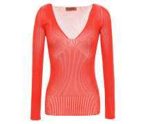 Woman Ribbed Silk-blend Top Tomato Red