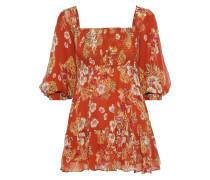 Shirred Floral-print Silk-georgette Mini Dress