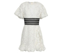 Lattice-trimmed Lace Mini Dress Ivory