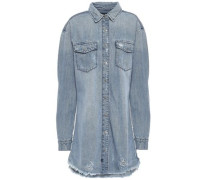 Distressed Denim Mini Shirt Dress Light Denim