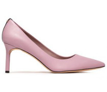 Suede-trimmed Leather Pumps Lilac