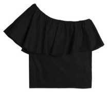 One-shoulder ruffled cotton top