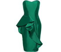 Strapless Ruffled Twill Dress Emerald