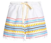 Embroidered cotton-blend shorts