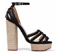 Eyelet-embellished Canvas Espadrille Platform Sandals Black