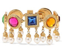 24-karat gold-plated, crystal and faux pearl bracelet