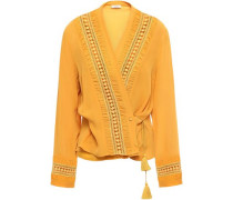 Wrap-effect Tasseled Crochet-trimmed Silk-crepe Blouse Saffron