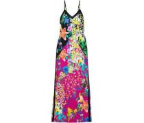 Floral-print Crepe De Chine Maxi Dress Black