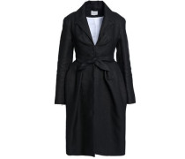 Tie-front pleated woven coat