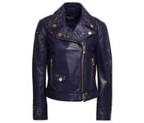 Embellished Leather Biker Jacket Indigo