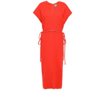 Wool-blend Crepe Midi Dress Coral