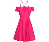 Off-the Shoulder Cotton And Silk-blend Mini Dress Fuchsia Size 0