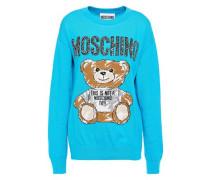 Intarsia Cotton Sweater Turquoise