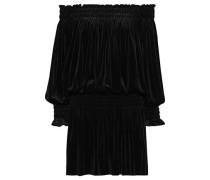 Off-the-shoulder Shirred Velvet Mini Dress Black