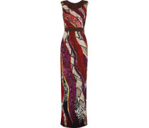 Ruffle-trimmed Printed Crepe Maxi Dress Multicolor