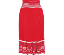 Pointelle-knit Midi Skirt Red