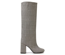 Woman Prince Of Wales Checked Wool-blend Knee Boots Black