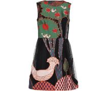 Flared Appliquéd Sequin-embellished Mini Dress Black