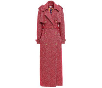 Double-breasted Tweed Trench Coat Claret