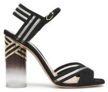 Mesh-trimmed Lurex Sandals Black