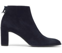 Bow-detailed suede ankle boots