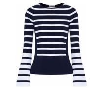 Striped Stretch-knit Top Navy