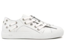 Eyelet-embellished Leather Sneakers White