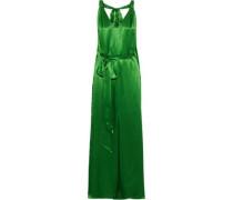 Darling Open-back Silk-blend Satin Gown Green