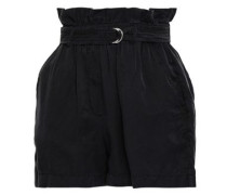 Belted Washed Silk And Cotton-blend Shorts Midnight Blue