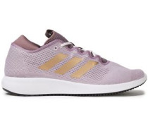 Woman Edge Flex Metallic-trimmed Stretch-knit Sneakers Lilac