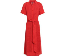 Broderie Anglaise Cotton Midi Shirt Dress Tomato Red