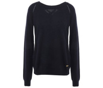 Pointelle-trimmed Bow-embellished Knitted Sweater Navy