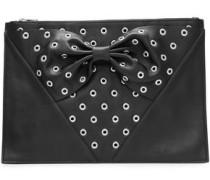 Embellished Leather Clutch Black Size --