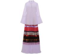 Edina Paneled Pleated Chiffon Gown Lavender