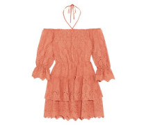 Waylon Off-the-shoulder Broderie Anglaise Mini Dress Antique Rose Size 0