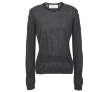 Gathered Cotton-blend Sweater Dark Gray
