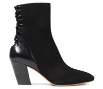 Volira Lace-up Suede And Cracked-leather Ankle Boots