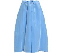 Pleated sateen midi skirt