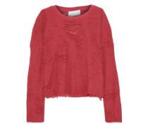Distressed French Cotton-blend Terry Top Fuchsia