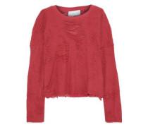 Cenix Cropped Distressed Cotton-blend Terry Sweatshirt Fuchsia