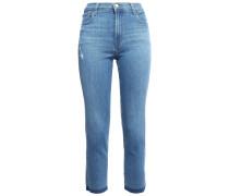 Woman Distressed High-rise Slim-leg Jeans Mid Denim