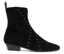 Patti Studded Suede Ankle Boots Black