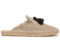 Rocio Tassle-embellished Frayed Canvas Espadrilles Neutral