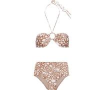 Printed Bandeau Bikini Light Brown