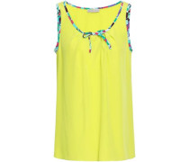 Printed-trimmed Silk Crepe De Chine Top Bright Yellow