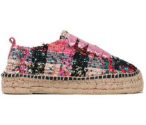 Satin-trimmed bouclé-tweed espadrilles