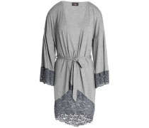 Corded lace-trimmed mélange jersey robe
