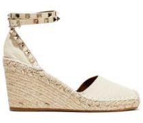 Woman Rockstud Pebbled-leather Wedge Espadrilles Ivory